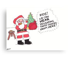 Santa Munching Cookies Canvas Print