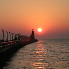 Grand Haven Pier at Sundown by foozma73