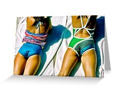 Two Girls Relaxing on Towels Greeting Card