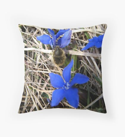 BLUE FLOWER AND INSECT Throw Pillow