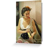 Dickens Fair Corset Model Greeting Card