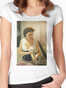 Dickens Fair Corset Model Women's Fitted Scoop T-Shirt