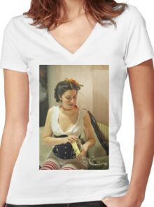 Dickens Fair Corset Model Women's Fitted V-Neck T-Shirt