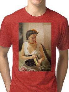 Dickens Fair Corset Model Tri-blend T-Shirt