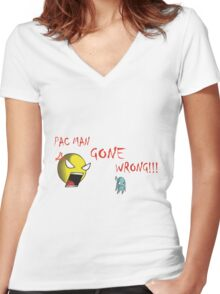 Pac Man gone wrong Women's Fitted V-Neck T-Shirt