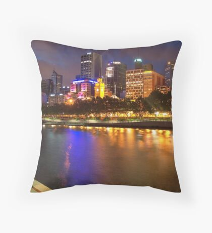 Melbourne City at Night II Throw Pillow