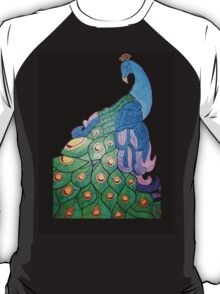 Peacock over black background T-Shirt