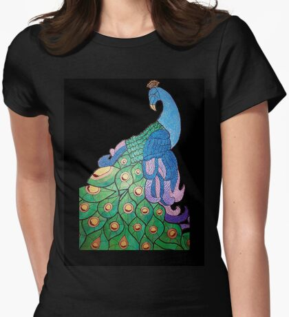 Peacock over black background Womens Fitted T-Shirt