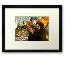 The Hijabi Heroines take on the Intergalactic dOve Invaders Framed Print