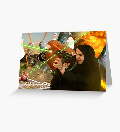 The Hijabi Heroines take on the Intergalactic dOve Invaders Greeting Card