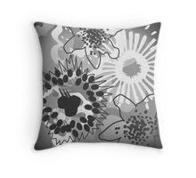 Grey Shades Floral Graphic Cushion Version 2 (see description) Throw Pillow