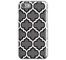 Black and White Quatrefoil Pattern on Grey iPhone Case/Skin