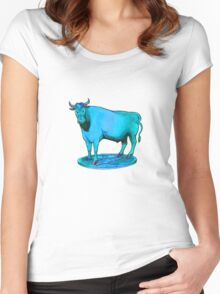 Blue bull graphic design Women's Fitted Scoop T-Shirt