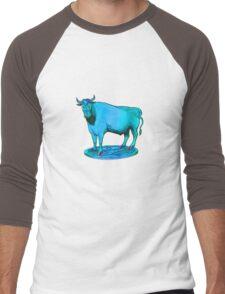Blue bull graphic design Men's Baseball ¾ T-Shirt