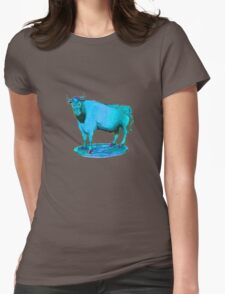 Blue bull graphic design Womens Fitted T-Shirt