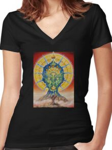 vision of the shaman Women's Fitted V-Neck T-Shirt