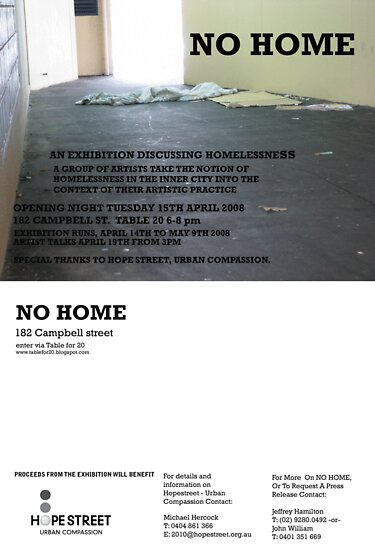 No Home Project and Exhibition Opening April 15th - You're invited! by Robert Knapman