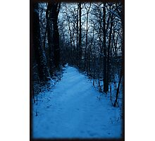 Walkin' down a winter path..In a world of blue Photographic Print