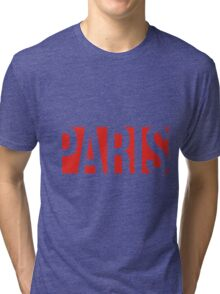 PARIS red/white Tri-blend T-Shirt