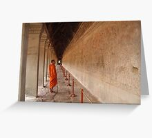 A monk browsing at Angkor Wat Greeting Card