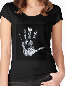Palm print black & white Women's Fitted Scoop T-Shirt