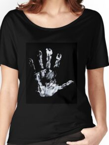 Palm print black & white Women's Relaxed Fit T-Shirt