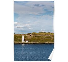 White Lighthouse on Green and Blue Poster