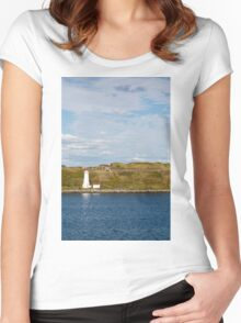 White Lighthouse on Green and Blue Women's Fitted Scoop T-Shirt