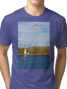 White Lighthouse on Green and Blue Tri-blend T-Shirt
