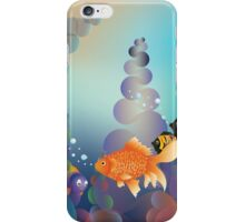 Abstract cartoon colorful underwater background with gold fish iPhone Case/Skin
