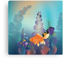Abstract cartoon colorful underwater background with gold fish Canvas Print