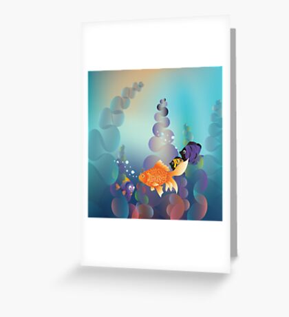 Abstract cartoon colorful underwater background with gold fish Greeting Card