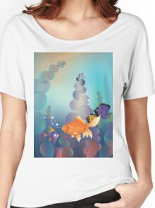 Abstract cartoon colorful underwater background with gold fish Women's Relaxed Fit T-Shirt