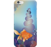 Abstract cartoon colorful underwater background with gold fish 2 iPhone Case/Skin