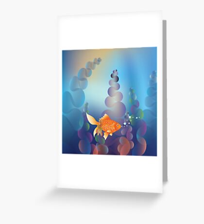 Abstract cartoon colorful underwater background with gold fish 2 Greeting Card