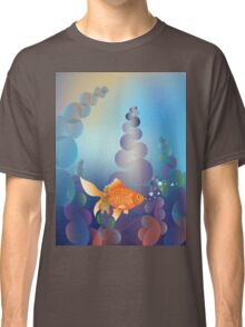 Abstract cartoon colorful underwater background with gold fish 2 Classic T-Shirt