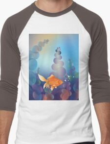 Abstract cartoon colorful underwater background with gold fish 2 Men's Baseball ¾ T-Shirt