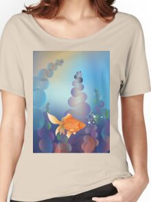 Abstract cartoon colorful underwater background with gold fish 2 Women's Relaxed Fit T-Shirt