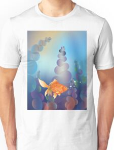 Abstract cartoon colorful underwater background with gold fish 2 Unisex T-Shirt