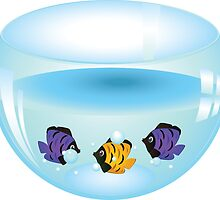 Cartoon colorful fishes swimming in the water in a fishbowl by AnnArtshock