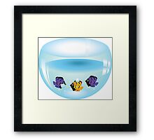 Cartoon colorful fishes swimming in the water in a fishbowl Framed Print