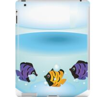 Cartoon colorful fishes swimming in the water in a fishbowl iPad Case/Skin
