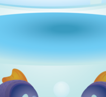 Cartoon colorful fishes swimming in the water in a fishbowl 2 Sticker
