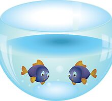 Cartoon colorful fishes swimming in the water in a fishbowl 2 by AnnArtshock