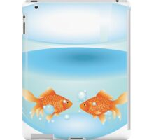 Gold fish swimming in the water in a fishbowl iPad Case/Skin