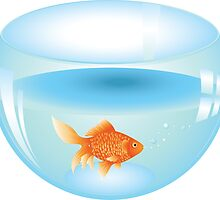 Gold fish swimming in the water in a fishbowl 2 by AnnArtshock