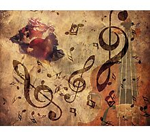 Grunge rose, violin and music notes Photographic Print