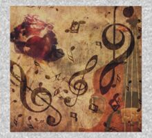 Grunge rose, violin and music notes Kids Clothes