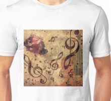 Grunge rose, violin and music notes Unisex T-Shirt