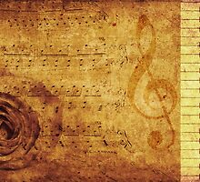 Grunge rose, piano and music notes by AnnArtshock